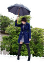Blue-h-m-coat-gray-obey-dress-gray-tabio-socks-black-dkny-boots