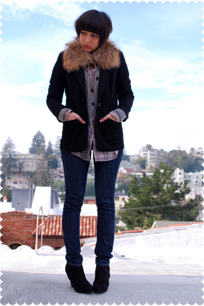 purple Levis blouse - black platform ankle Payless boots - blue indidenim jeans