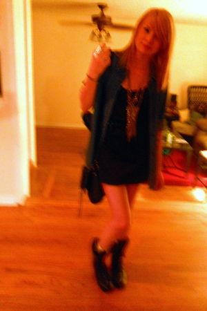 black thrifted dress - black belt - black f21 boots - thrifted blouse - black f2