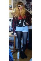 the smiths t-shirt - flannel Primark shirt - stripy tesco tights - denim shorts