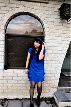 blue short Atmosphere UK dress - black K-mart boots - black fedora bench hat