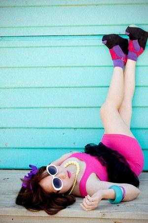 hot pink bodycon supre dress - black tutu Jay Jays skirt