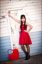 red heart shaped bag - red heart custom dress - black black Rubi shoes heels