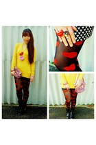 hearts Target tights - K-mart boots - knit Atmosphere UK sweater