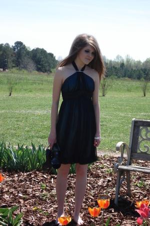 bracelet - black wedges calvin klein shoes - blue prom dress  dress