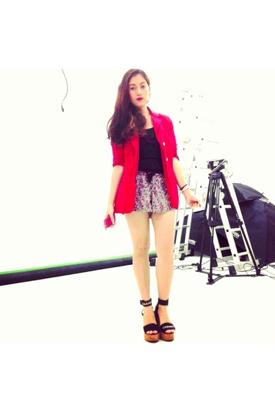 red BCBG blazer - black Chanel shoes - ruby red cotton Denim & Co shorts