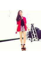 red BCBG blazer - black Chanel shoes - ruby red cotton Denim & Co shorts