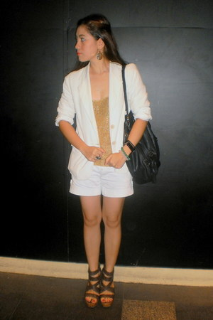 white Esprit blazer - white Zara shorts - gold Zara top
