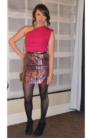 pink American Apparel dress - gold H&M skirt - black Forever 21 tights - black D