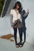 beige Forever 21 sweater - navy opaque Target tights - navy unknown shorts - bei
