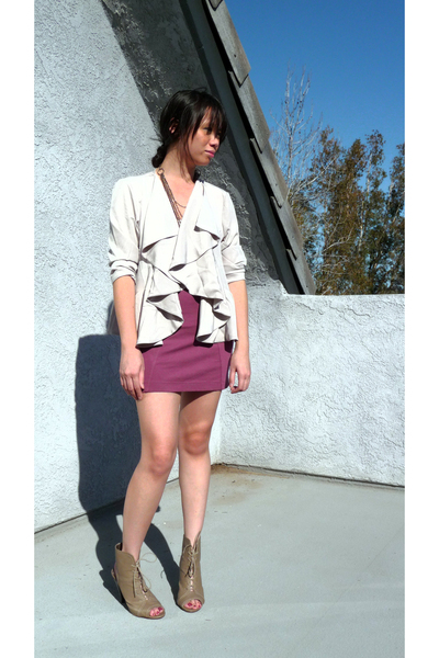 purple H&M cardigan - white Michael Stars top - pink H&M skirt - beige Forever 2