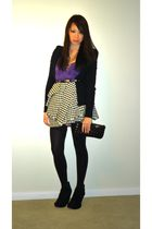 black H&M sweater - purple Forever 21 top - white H&M skirt - black Marc by Marc