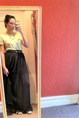 black cotton mini H&M skirt - black chiffon maxi American Apparel skirt