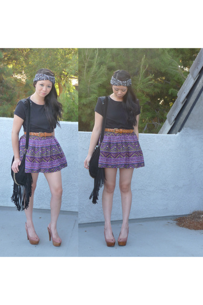 black Urban Outfitters scarf - black Forever 21 shirt - brown Target belt - purp