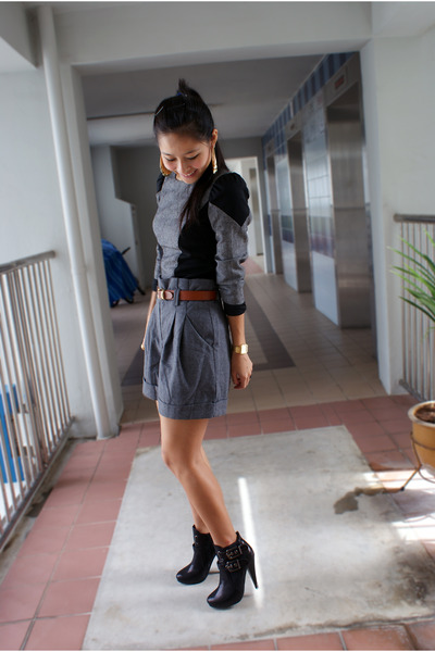 gray bysi top - gray f21 shorts - black new look shoes - gold H&M accessories