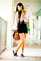 nude Topshop blouse - brown Mango bag - navy Zara shorts - black mphosis sandals