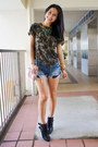 Black-leather-new-look-boots-blue-denim-zara-shorts