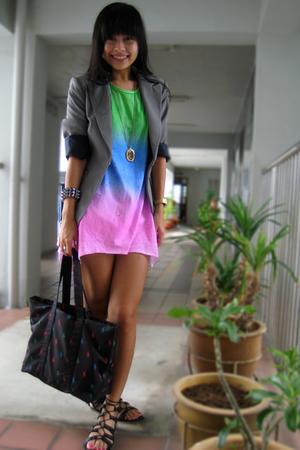 gray thrifted Mango blazer - black bag Ralph Lauren accessories