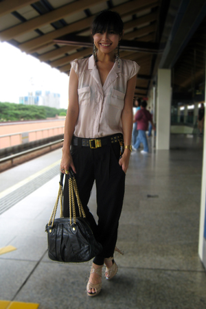 cotton on blouse - bysi pants - Charles & Keith shoes - Marc Jacobs accessories