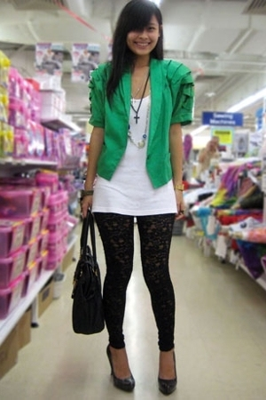 black lace leggings - gray platform pumps Aldo shoes - green was my mums jacket