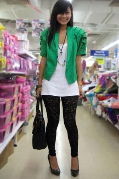 black lace leggings - gray platform pumps Aldo shoes - green was my mums jacket