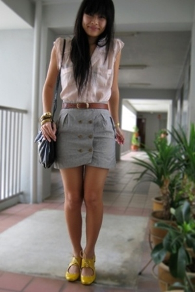cotton on blouse - belt - GG5 skirt - Mango accessories - Schu shoes