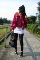 black mphosis shoes - black pvc leggings - red top - white Topshop top