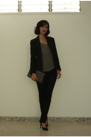black cotton Angel Sanchez blazer - olive green bright Zara shirt - black leathe