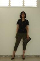 black cotton vestimenta jacket - black leather Bossa Nova purse - army green sat