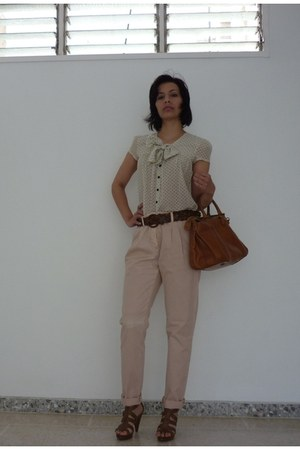 leather Gap bag - leather Nine West heels - cotton Zara pants - polka dot Mango