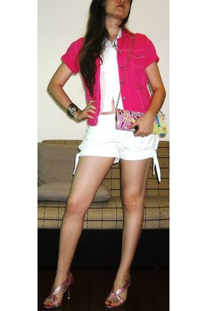 pink Cristalli shoes - pink jacket - silver Swatch accessories