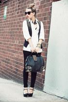 black Oasapcom bag - white Hugo Boss shirt - black Bakers heels