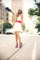 hot pink Eri Design heels - white H&M dress - peach Accessorize bag
