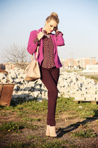 magenta Forever21 blazer - carrot orange romwe shirt - beige Prada bag