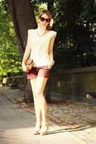 dark brown silvian heach shorts - eggshell silvian heach shirt