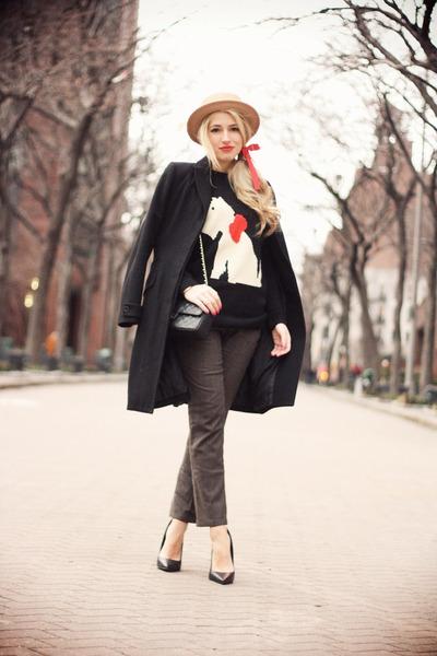black Laltramoda coat - beige romwe hat - black romwe sweater - black Chanel bag