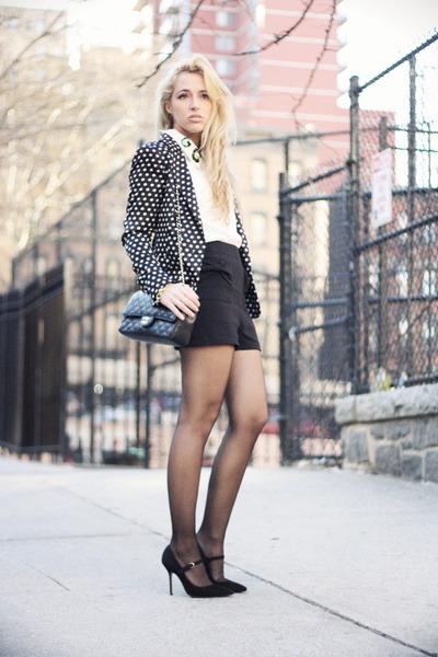 black Zara blazer - white Chicwish shirt - black Chanel bag