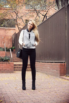 silver Wet Seal jacket - black Zara bag - black Wet Seal pants