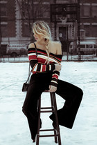 black Rebecca Minkoff bag - brick red zaful sweater - black Bebe pants