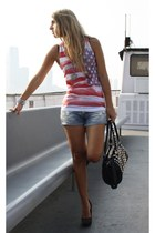 red Forever21 top - black strawberry bag - periwinkle pull&bear shorts