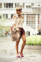 beige Chicwish shirt - tan Prada bag - dark brown silvian heach shorts