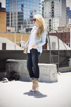 light blue OASAP blazer - navy Levis jeans - beige YSL bag