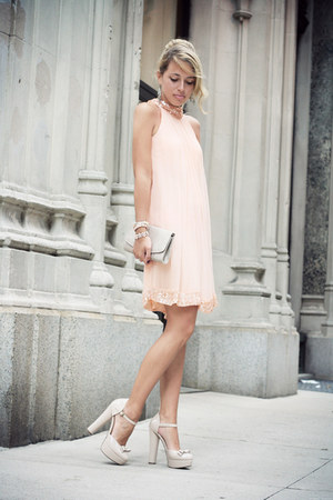 peach silvian heach dress - nude H&M bag - neutral Forever21 heels