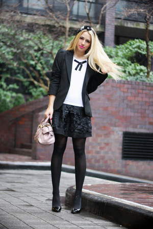 black Zara blazer - white Les Femmes Velours shirt - light pink Miu Miu bag