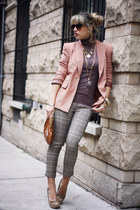 nude Forever21 blazer - brown Bershka sweater - light orange vintage bag
