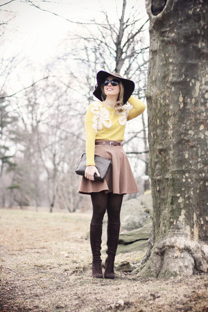 brown Forever21 skirt - dark brown Georgia Rose boots - dark brown H&M hat