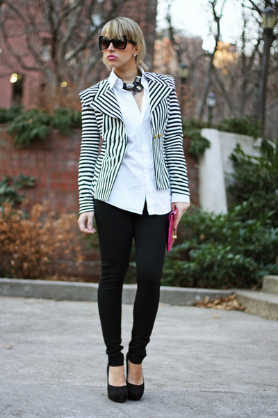 naughty monkey wedges - necessary clothing blazer - asos bag