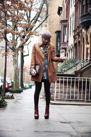 brown H&M hat - dark brown Topshop boots - teal In Love with Fashion dress
