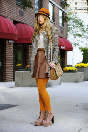 light orange H&M tights - tan jeffrey cambpell boots - light orange H&M hat
