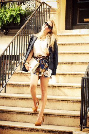 navy luluscom shorts - navy pull&amp;bear blazer - white luluscom bag